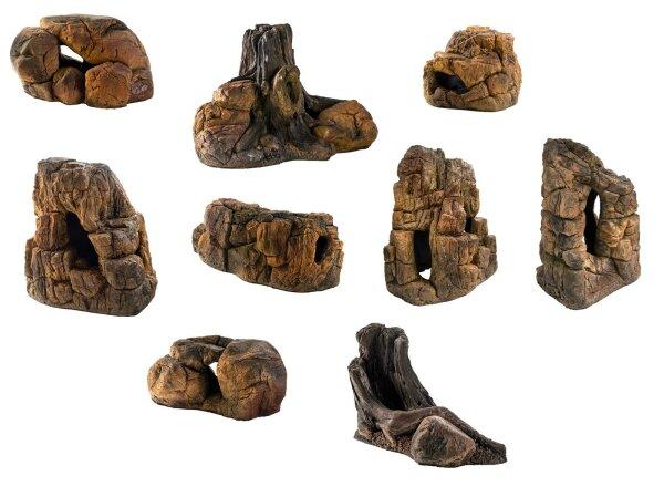 Deko Felsen Wurzeln Steine versch. Modelle