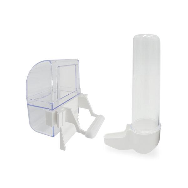 Set Futternapf und Trinkröhrchen für Vogelkäfig in weiß